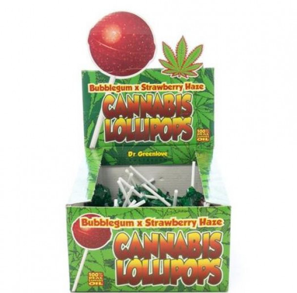Cannabis Lollypop Bubblegum - Strawberry